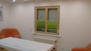 Behandlungszimmer: Freundliche grüne Plissée-Vorhänge