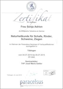 Zertifikat Naturheilkunde für Schafe, Rinder, Schweine und Ziegen