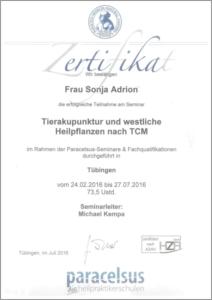 Zertifikat Tierakupunktur und westliche Heilkräuter nach TCM