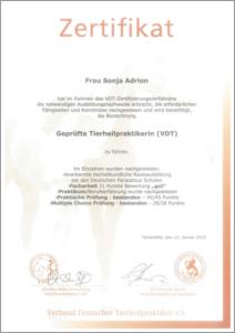 VDT Zertifikat von Sonja Adrion